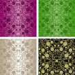 Seamless wallpapers - set of four colors. - Stock Vector