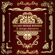 Golden vintage borders and design elements - vector set. — Stock Vector