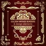 Golden vintage borders and design elements - vector set. — Stock Vector