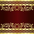 Luxury claret Background decorated a gold vintage Ornament. — 图库矢量图片