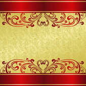 Luxury Background decorated a vintage ornament: gold and red. — Stock Vector