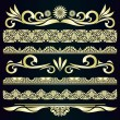 Golden vintage borders & design elements - vector set. — Stock Vector
