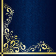 Luxury dark blue Background decorated a gold border. — Stok Vektör