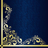 Luxury dark blue Background decorated a gold border. — Stock Vector