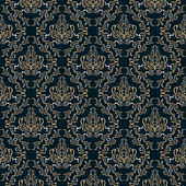Damask seamless pattern against a dark background. — Stock Vector