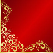 Luxury red Background decorated a gold border. — Stock Vector