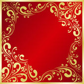 Luxury red Background decorated a gold frame. — Stock Vector