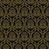 Seamless retro wallpaper in victorian style: gold on black. — Stock Vector