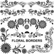 Stock Vector: Floral borders - vector set