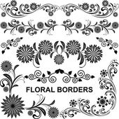 Floral borders - vector set — Stock Vector