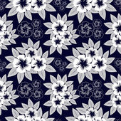 Seamless navy blue pattern with white flowers — Stock Vector