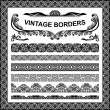 Vintage borders - vector set. — Stock Vector