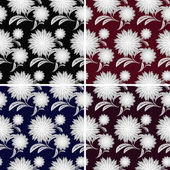 Floral seamless pattern in four variants — Vecteur