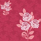 Padrão sem emenda com rosas grandes em tons de rosa. — Vetor de Stock