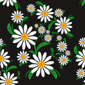 Flower seamless Pattern with Chamomiles on a black background. — Stock Vector