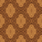 Damask seamless wallpaper - beige and brown design. — Stock Vector