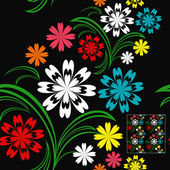 Flower seamless pattern with colorful flowers on a black background. — Stock Vector