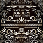 Silver vintage Borders and design elements - vector set — Stock Vector