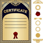 Certificate Template with additional elements - gold and dark blue design — Stock Vector
