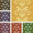 Golden seamless luxury pattern. Set of six variants. — Stock Vector