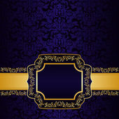 Dark blue ornamental Background with label. — Stock Vector