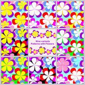 Abstrait motif transparent avec des fleurs - set de neuf variantes. — Vecteur
