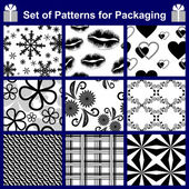 Set of nine Patterns for packing or background. — Stock Vector