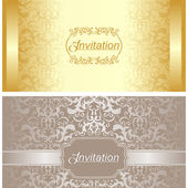 Invitation card design in gold and silver colors — Stock Vector