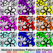 Abstract seamless Pattern with Flowers. Set of nine colors. — Stock Vector