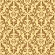 Seamless damask floral pattern in beige colors.  — Stock Vector