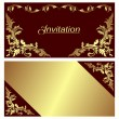 ストックベクタ: Invitation card - design with golden Borders.