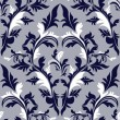 Seamless damask floral Pattern - dark blue and white colors. — Stock Vector