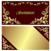 Invitation card - design with golden Borders. — Stock Vector