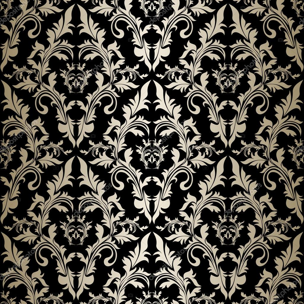Nahtlose retro tapete silber ornament auf schwarz for Retro tapete
