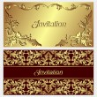 Luxurious invitation Cards with golden ornamental Borders  — Stock Vector