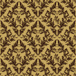 Seamless damask floral Pattern - beige and brown design.  — Stock Vector