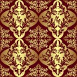 Golden seamless floral Pattern on a dark red background.  — Stok Vektör