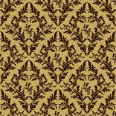 Seamless damask floral Pattern - beige and brown design. — Vecteur
