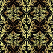 Luxury ornamental Wallpaper: gold and charcoal. — Stock Vector