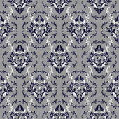 Seamless damask floral Wallpaper - dark blue and white colors. — Stock Vector