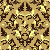 Seamless damask floral Ornament - beige and brown design. — Stock Vector