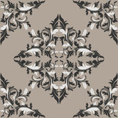 Seamless damask floral Pattern in shades of gray. — 图库矢量图片