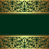 Luxury rifle-green Background decorated a golden ornamental Border. — Stockvector