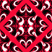 Seamless red Pattern with black-white Ornament. — Stock Vector