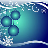 Dark blue xmas Background with Balls and white Snowflakes. — Stock Vector