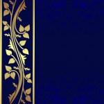 Luxury dark blue Background with golden border. — Stock Vector