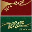 Stylish invitation Cards with golden floral Elements. — Stock Vector