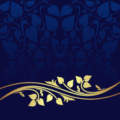 Navy blue ornamental Background decorated a golden floral Border. — Stock Vector