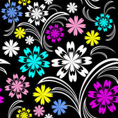 Bright flower seamless pattern with colorful flowers on black. — Stock Vector