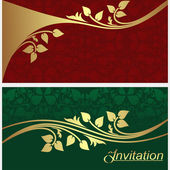 Stylish invitation Cards with golden floral Elements. — Stok Vektör